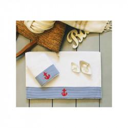 Полотенце махровое Anchor stripe Голубое BARINE