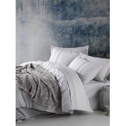 Набор постельное белье + плед Embos Gri COTTON BOX