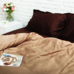 Постельное белье Шоколад/Золотистый капучино Сатин ХЛОПКОВЫЕ ТРАДИЦИИ