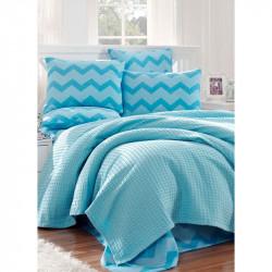 Постельное белье Пике Paint ZigZag mavi голубое Eponj Home