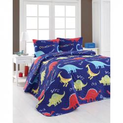 Покрывало стеганное с наволочками Dinozorus mavi синее Eponj Home