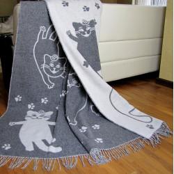 Плед жаккард Cats Серый VLADI