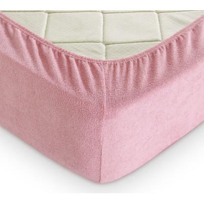 Махровая простынь на резинке Темно-розовая TM LightHouse