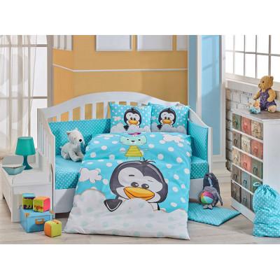 Детское постельное белье Penguin Голубое Hobby