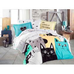 Постельное белье Poplin Love Cats желтое Hobby