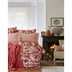 Набор постельное белье с пледом Melange turuncu Karaca Home