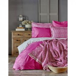 Набор постельное белье с пледом Marla fusya Karaca Home