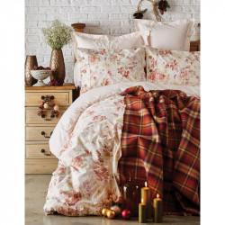 Набор постельное белье с пледом Arlo orange Karaca Home