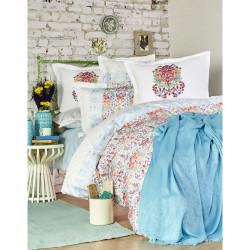 Набор постельное белье с пледом Diandra turkuaz Karaca Home