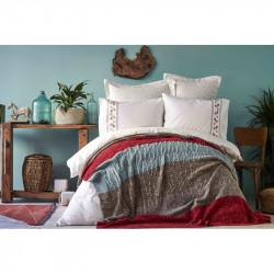 Набор постельное белье с пледом Lienzo bordo Karaca Home