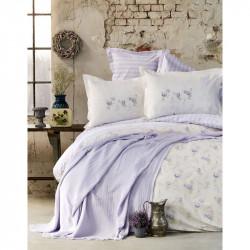 Набор постельное белье с покрывалом пике Tesla lila Karaca Home