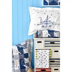 Подростковое белье с покрывалом Veta lacivert синее ранфорс Karaca Home