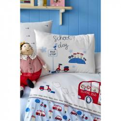 Белье для младенцев School bus mavi голубое ранфорс Karaca Home