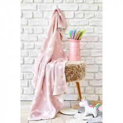 Детское покрывало пике Baby star pembe розовое Karaca Home