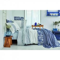 Набор постельное белье с покрывалом + пике Positano mavi голубой  Karaca Home