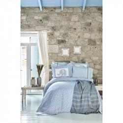 Набор постельное белье с покрывалом + пике Zilonis mavi голубой Karaca Home