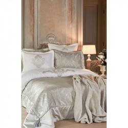 Набор постельное белье с покрывалом + плед Eldora gri серый Karaca Home