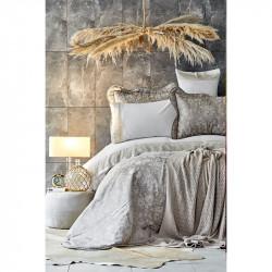 Набор постельное белье с покрывалом + плед Ennea gold золотой Karaca Home