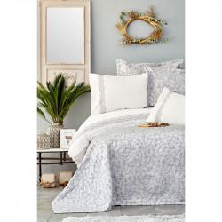 Набор постельное белье с покрывалом Carolina gri серый Karaca Home