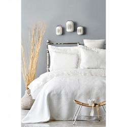 Набор постельное белье с покрывалом Monomia ekru молочный Karaca Home