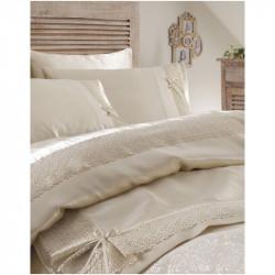 Набор постельное белье с покрывалом пике Tugce krem кремовый Karaca Home