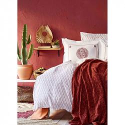 Набор постельное белье с пледом Alley kiremit кирпичный Karaca Home