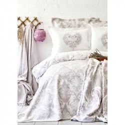 Постельное белье Сатин Quatre royal murdum фиолетовое Karaca Home