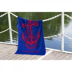 Полотенце пляжное велюр Anchor New синиее LOTUS