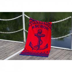 Полотенце пляжное велюр Anchor New красный LOTUS