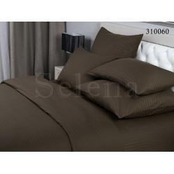 Однотонное постельное белье Сатин Stripe 1х1 Шоколад SELENA