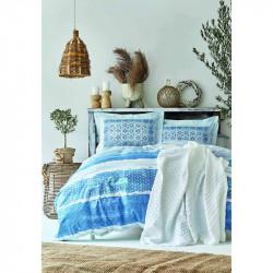 Набор постельное белье с покрывалом пике Mylos beyaz белый пике Karaca Home