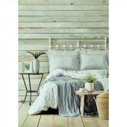 Набор постельное белье с пледом Fronda gri серый Karaca Home