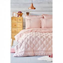Набор постельное белье с одеялом Carissa сатин pudra пудра Karaca Home