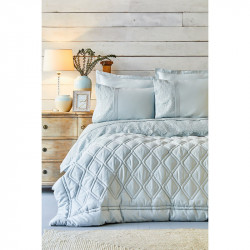 Набор постельное белье с одеялом Carissa сатин mavi голубой Karaca Home