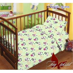 Постельное белье в кроватку Панда зеленое TAG
