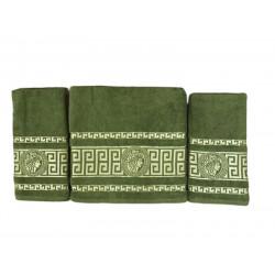 Набор махровых полотенец Версаче зеленый Gold Soft Life