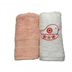Набор кухонных полотенец лососевый Casabel
