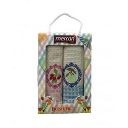 Набор вафельных полотенец Mercan Fresh Fruit Вишня и Яблоко MELIH