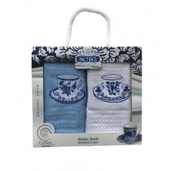 Набор вафельные полотенец Гжель синий кремовый NILTEKS