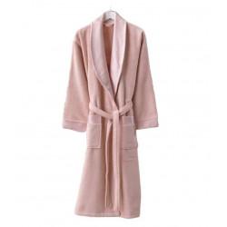 Женский махровый халат Long Twist Bayan розовый Zugo Home