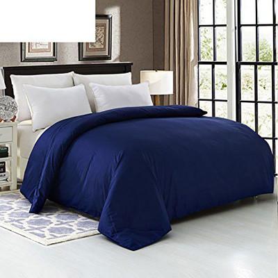 Постельное белье на резинке Сатин Темно-синий + Белый