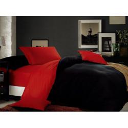 Постельное белье на резинке Атлас Красно-черное Евро