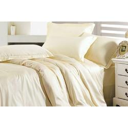 Однотонное постельное белье на резинке Сатин Шампань